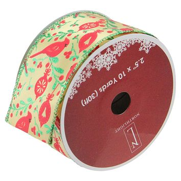 "Honey Mustard Yellow with Red Cardinals Wired Christmas Craft Ribbon 2.5"" x 10 Yards"
