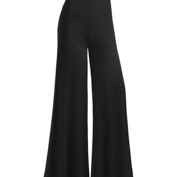 Streetstyle  Casual Casual Plain Flared  High-Rise Casual Pants