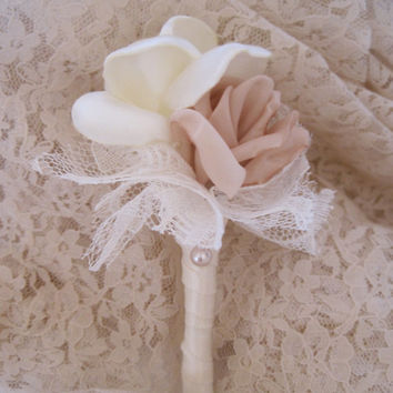 Vintage Inspired Fabric Flower Boutonniere Champagne and Ivory Groom Groomsmen  Usher Father of the Bride With Rhinestone Accent..Custom