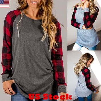 Women Ladies Plaid Long Sleeve Loose Tops Shirt Casual Baggy Top Blouse New