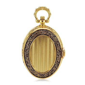 Luxury Skeleton Golden Tone Hand Wind up Mechanical Pocket Watch rose color field Clock girl Packing box