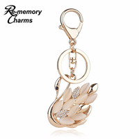 Beautiful Unique Rhinestone Swan Keychain Crystal Metal Animal Key Chains Rings Holder Jewelry