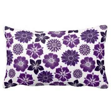 Pink Purple Floral Flower Pattern Pillows