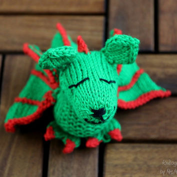 Toy Dragon, handknit from eco friendly cotton yarn, toy for kids, gift for her, him and baby