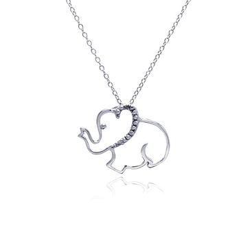 .925 Sterling Silver Rhodium Plated Clear Cubic Zirconia Elephant Pendant Necklace 18 Inches