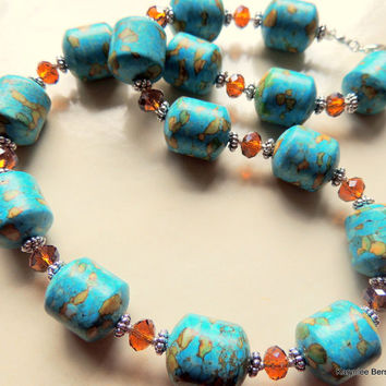 Chunky Mosaic Turquoise Amber Crystal Silver Handcrafted Southwestern Style Necklace Cowgirl