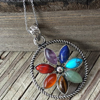 Chakra Stone Flower Pendant Necklace