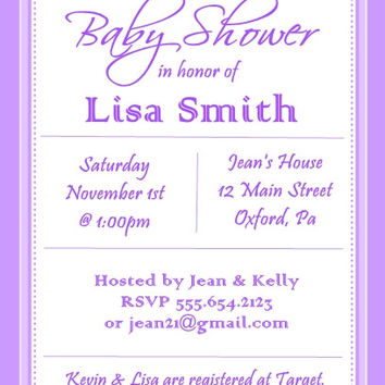 Purple Striped Baby Shower Personalized Invitations