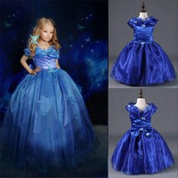 Girls Blue Cinderella Princess Party Dress