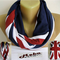 NEW-Infinity Scarf - England flag- Circle Scarf Loop Scarf ,gift Ideas For Her Women's Scarves-christmas gift- for her -Fashion accessories
