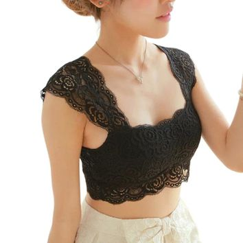 Women's Sexy Lace Bralette-Bustier-Crop Top.    One Size Fits Many.   In White and Black.    ***FREE SHIPPING***
