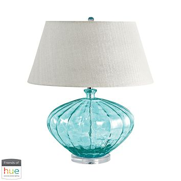 Recycled Fluted Glass Urn Table Lamp in Blue - with Philips Hue LED Bulb/Bridge