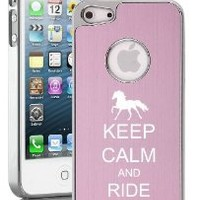 Apple iPhone 5 5S Pink 5E1251 Aluminum Plated Chrome Hard Back Case Cover Keep Calm and Ride On Horse