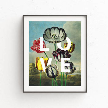 Vintage Love Flower,Botanical Print,Wall art poster,Botanical art, Botanical illustration,Digital download,Living Room decor,Home decor