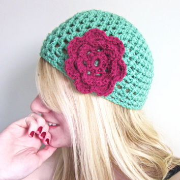 Crochet Flower Beanie Afternoon Tea Hat in Sea Green by SalemStyle