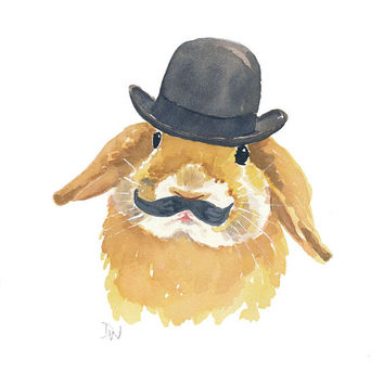 Bunny Rabbit Watercolor Print - Lop Eared Rabbit, 5x7 Illustration Print, Bowler Hat, Rabbit Watercolour
