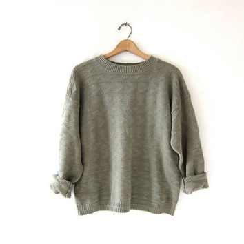 vintage sage green sweater. textured cotton knit pullover. boxy sweater.