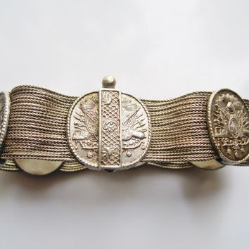 Vintage Turkish Silver Multi Chain Mesh Bracelet