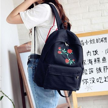 Embroidered Rose Canvas Backpack