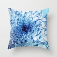 Blue Chrysanthemum Throw Pillow by micklyn
