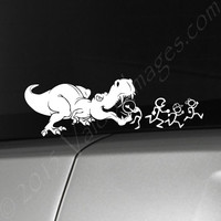 T-Rex eating stick figure family car decal, dinosaur car decal, jurassic car decal, dino car decal, dinosaur auto decal, dinosaur sticker