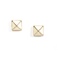Luxor Charm Cream Pyramid Earrings