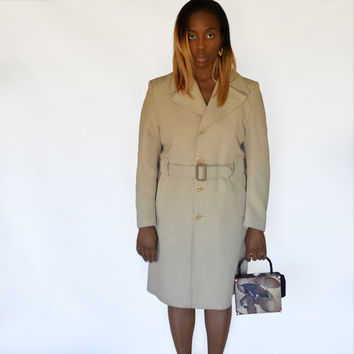 70s Vintage Trench Coat Outerknits by Campus Tan / Single Breasted