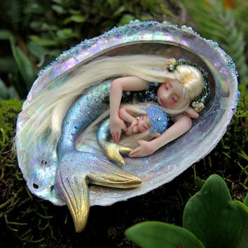 Mother and Baby Mermaid Abalone Faeries || Celia Anne Harris || OOAK