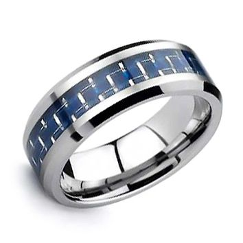 Blue Cobalt Carbon Fiber Inlay Wedding Band Tungsten Ring For Men 8MM