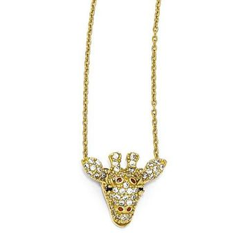 Cheryl M Sterling Silver Gold-Plated CZ Enameled Giraffe Necklace