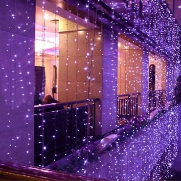 6m X 3m 600 Led 8 Modes 9 Colors Indoor / Outdoor Party String Fairy Wedding Curtain Light Christmas Xmas Light Decoration (Purple, 110V)
