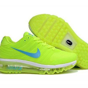 PEAPON3V Nike Air Max 2017.  Volt Yellow, White & Light Blue. Women's Running Shoes