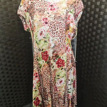 Vintage Floral And Animal Print Gauze Dress, Vintage Clothing, Colorful, Tagged BILA, Size S,