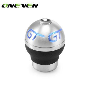 Universal Aluminum + Genuine Leather Flashing Gear Shift Knob Lighted Blue LED Flashing Gears Stick Shifter Replace Support 3 Li