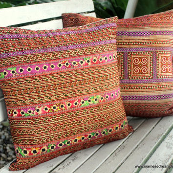 Ethnic Pillows In Hmong Embroidery 16 inch Decorative Throw Pillow Cushion Cover