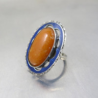 Natural Russian Amber Blue Enamel Ring, Art Deco Sterling Amber Jewelry, Dark Butterscotch Amber Cobalt Blue Guilloche Enamel Ring,  Size 5.