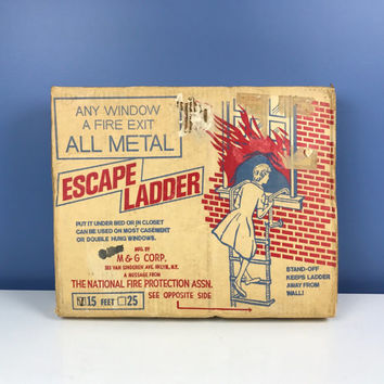 Vintage Escape Ladder in Original Box Metal 15 ft Emergency Ladder Mid Century Safety Ladder Collectible