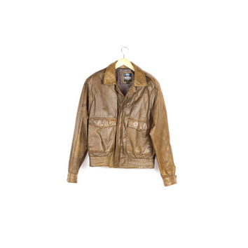 90s classic brown leather bomber jacket / vintage / basic / rugged / distressed / motorcycle / moto / biker / boxy / unisex / mens small