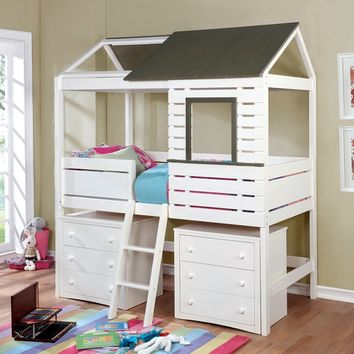 Farem collection gray and white finish wood loft play house design twin size bed