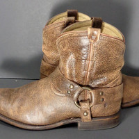 Frye 76683 Wyatt Harness Short Brown Leather Western Cowboy Cowgirl Boots Women's Size 8.5