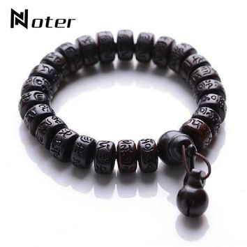 Noter Antique Jujube Wooden Buddha Bracelet Letter Runes Meditation Wood Men Braclet OM Mani Padme Hum Armbanden Yoga Jewelry