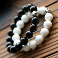 New Natural Black Agate White Tridacna Beaded Barcelets Fashion Round Beads Bangles For Women & Men Diy Jewelry Gifts Hhmnb010
