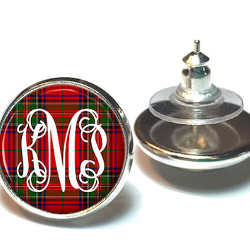 Monogram Earrings - Personalized Jewelry - Tartan Plaid Stud Earrings - Monogram Gift - Monogram Jewelry - Style 382