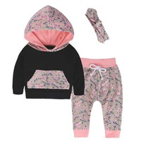 Newborn Baby Girls Floral Hooded 3Pcs Set
