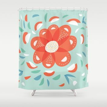 Whimsical Decorative Red Flower Shower Curtain by Boriana Giormova