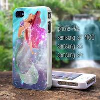 Ariel the little mermaid galaxy for iphone 4/4s case, iphone 5/5s/5c case, samsung s2 i9100,s3/s4 case cover