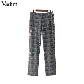 Women Vintage Floral Plaid Pants Zipper Pockets Retro Ladies Casual Ankle Length Trousers