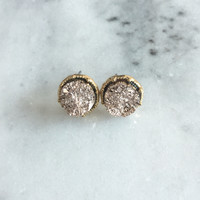 Circle Druzy Stud Earrings