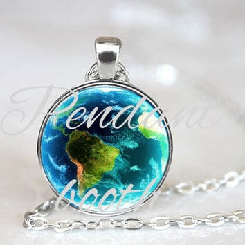 Pendant charm with glass. Round pendant. Earth. Earth jewelry. Universe pendant. Blue pendant. Galaxy.