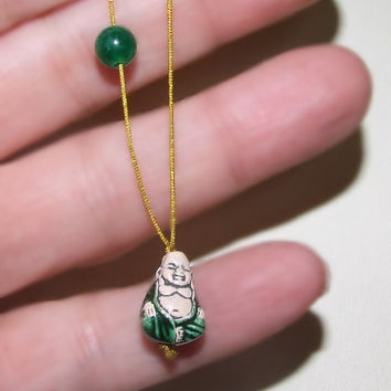 Green Smiling Buddha with Emerald Jade Gemstone Bead Necklace, Handmade Peruvian Ceramic Buddha, Cord, Sterling Silver Clasp, Wabi Sabi Chic